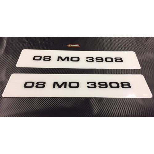 FK013 Euro Style Plates bold text, white plate x2